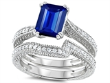 Star K™ Emerald Cut 8x6mm Created Sapphire Wedding Set style: 307736