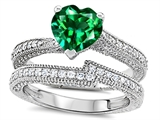 Star K™ Heart Shape 7mm Simulated Emerald Wedding Set style: 307738