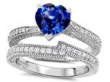 Star K™ Heart Shape 7mm Created Sapphire Wedding Set style: 307741