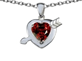 Star K™ Heart with Arrow Love Pendant Necklace with Genuine Garnet style: 307830
