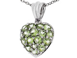 Tommaso Design™ Puffed Heart with Round Genuine Peridot Pendant Necklace style: 307836
