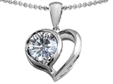 Star K™ 8mm Round Genuine White Topaz Heart Pendant Necklace style: 307843