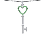 Star K™ Round Simulated Emerald Heart Shape Key Pendant Necklace style: 307849