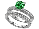 Star K™ 7mm Round Simulated Emerald Wedding Set style: 307853