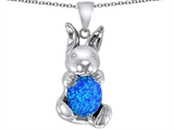 Star K™ Love Bunny Pendant Necklace With Blue Created Opal Oval 10x8mm style: 307858