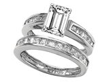 Star K™ 8x6mm Emerald Cut Genuine White Topaz Wedding Set style: 307864