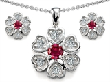 Star K™ Created Ruby Flower Pendant With Matching Earrings style: 307874