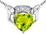 Star K™ 8mm Heart Claddagh Pendant Necklace With Simulated Peridot and Cubic Zirconia style: 307880