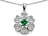 Star K™ Flower Pendant Necklace With Round 4mm Simulated Emerald style: 307888