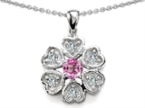 Star K™ Flower Pendant Necklace With Round 4mm Created Pink Sapphire style: 307891