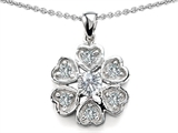 Star K™ Flower Pendant Necklace With Round 4mm Cubic Zirconia style: 307896