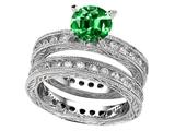 Star K™ 7mm Round Simulated Emerald Eternity Wedding Set style: 307897