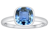 Tommaso Design™ 7mm Cushion Cut Simulated Aquamarine Engagement Solitaire Ring style: 307902