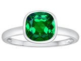 Tommaso Design™ 7mm Cushion Cut Simulated Emerald Engagement Solitaire Ring style: 307909