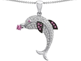 Star K™ Love Dolphin Pendant Necklace with Round Created Pink Sapphire style: 307932