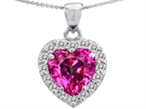 Star K™ Heart Shape 8mm Created Pink Sapphire Pendant Necklace style: 307936