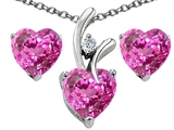 Star K™ Created Pink Sapphire Heart Shape Pendant Necklace with matching earrings style: 307948