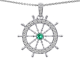 Star K™ Captain Wheel Pendant Necklace With Round Simulated Emerald style: 307956