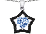 Star K™ 8mm Heart Shape Simulated Aquamarine Black Star Pendant Necklace style: 307959