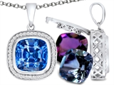 Switch-It Gems™ Cushion Cut 10mm Simulated Blue Topaz Halo Pendant Necklace12 Interchangeable Simulated Birth Months style: 307991