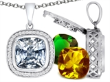 Switch-It Gems™ Cushion Cut 12mm Simulated White Topaz Pendant with 12 Interchangeable Simulated Birth Months style: 308005