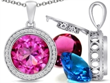 Switch-It Gems™ Interchangeable Simulated Pink Tourmaline Halo Pendant Necklace Set Round 12mm Simulated Birth Months style: 308023