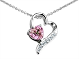 Star K™ 7mm Heart Shape Simulated Pink Morganite Heart Pendant Necklace style: 308035