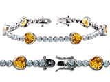 Star K™ High End Tennis Bracelet With 6pcs 7mm Heart Genuine Citrine style: 308049