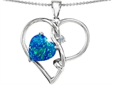 Star K™ 10mm Heart Shape Blue Created Opal Knotted Heart Pendant Necklace style: 308050