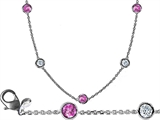 Star K™ 16 Inch Gems By The Yard Necklace With Round Created Pink Sapphire style: 308051