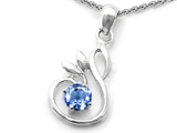 Star K™ Round Simulated Aquamarine Swan Pendant Necklace style: 308127