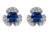 Star K™ Flower Earrings With Round 5mm Created Sapphire style: 308133