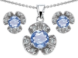 Original Star K™ Simulated Aquamarine Flower Pendant With Matching Earrings style: 308136