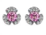 Star K™ Flower Earrings With Round 5mm Created Pink Sapphire style: 308138