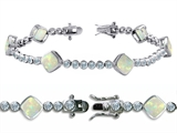 Star K™ High End Tennis Bracelet With 6pcs 7mm Cushion Cut Simulated Opal style: 308147