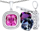 Switch-It Gems™ Interchangeable Simulated Pink Tourmaline Halo Pendant Necklace 12 Cushion Cut 10mm Simulated Birth style: 308166