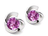 Star K™ Round Created Pink Sapphire Flower Earrings Studs style: 308186