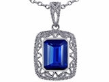 Star K™ Emerald Cut Created Sapphire Pendant Necklace style: 308196