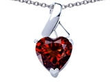 Star K™ 8mm Heart Shape Genuine Garnet Ribbon Pendant Necklace style: 308203