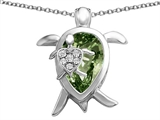 Star K™ Large Mother and Baby Turtle family Pendant Necklace with 12x8mm Pear Shape Simulated Green Tourmaline style: 308210