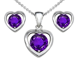 Star K™ Round Genuine Amethyst Heart Earrings with matching Pendant style: 308234