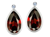 Star K™ Pear Shape Genuine Garnet Earrings Studs With High Post On Back style: 308238
