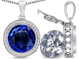Switch-It Gems™ 2in1 Round 10mm Simulated Sapphire Pendant Necklace with Interchangeable Simulated White Topaz Included style: 308247
