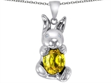 Star K™ Love Bunny Pendant Necklace With Simulated Citrine Oval 10x8mm style: 308252
