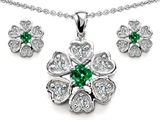 Star K™ Simulated Emerald Flower Pendant With Matching Earrings style: 308256