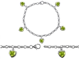 Star K™ High End Tennis Charm Bracelet With 5pcs 7mm Heart Shape Genuine Peridot style: 308257