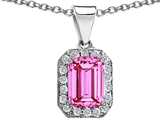 Star K™ 10x8mm Emerald Cut Created Pink Sapphire Pendant Necklace style: 308273