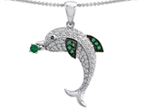 Star K™ Love Dolphin Pendant Necklace with Round Simulated Emerald style: 308281