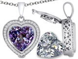Switch-It Gems™ 2in1 Heart 10mm Simulated Alexandrite Pendant Necklace with Interchangeable Simulated White Topaz Includ style: 308298