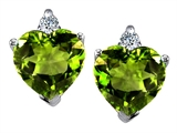 Star K™ 7mm Heart Shape Simulated Peridot and Cubic Zirconia Earrings style: 308310